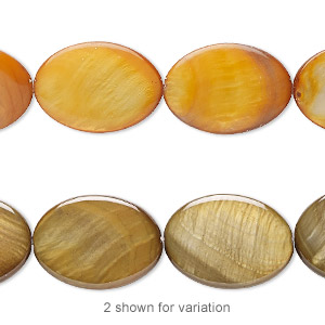 bead, freshwater pearl shell (dyed), dark gold, 18x13mm oval, mohs hardness 3-1/2. sold per 15-inch strand.