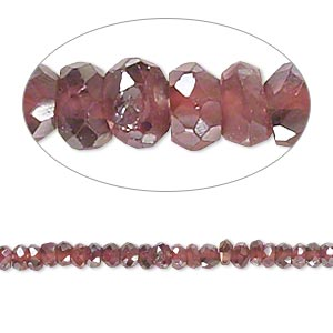 bead, garnet (coated / dyed), luster, 3x1mm-4x3mm hand-cut faceted rondelle, b- grade, mohs hardness 7 to 7-1/2. sold per 13-inch strand.