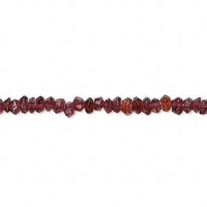 bead, garnet (dyed), 3x2mm-4x2mm hand-cut faceted rondelle, c- grade, mohs hardness 7 to 7-1/2. sold per 13-inch strand.