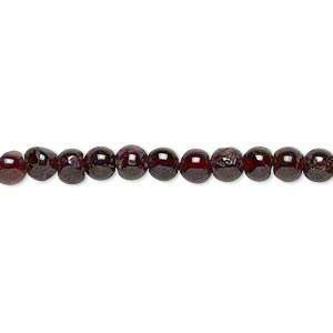 bead, garnet (dyed), 4-5mm hand-cut round, d grade, mohs hardness 7 to 7-1/2. sold per 13-inch strand.