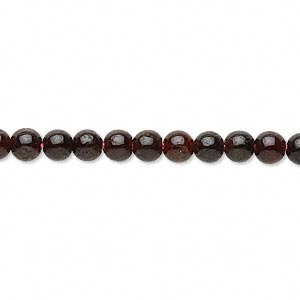 bead, garnet (dyed), 5-6mm round, d grade, mohs hardness 7 to 7-1/2. sold per 16-inch strand.