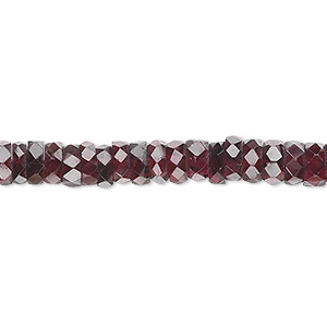 bead, garnet (dyed), 5x2mm-6x3mm hand-cut faceted rondelle, b grade, mohs hardness 7 to 7-1/2. sold per 16-inch strand.