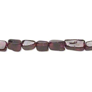 bead, garnet (dyed), 6x5mm-10x6mm rectangle, c- grade, mohs hardness 7 to 7-1/2. sold per 14-inch strand.
