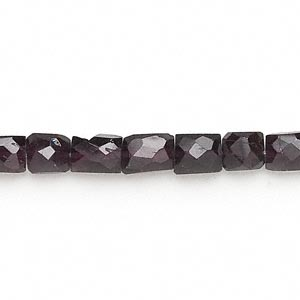 bead, garnet (dyed), 6x5mm-9x7mm hand-cut faceted puffed rectangle, c grade, mohs hardness 7 to 7-1/2. sold per 7-inch strand.