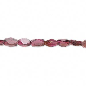 bead, garnet (dyed), 7x4mm-9x5mm hand-cut faceted brick, c grade, mohs hardness 6-1/2 to 7. sold per 16-inch strand.