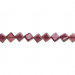 bead, garnet (dyed), 7x7mm-9x9mm hand-cut faceted flat diamond, b grade, mohs hardness 7 to 7-1/2. sold per 16-inch strand.