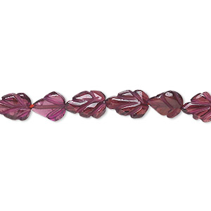 bead, garnet (dyed), 8x6mm-10x8mm hand-cut carved leaf, c grade, mohs hardness 7 to 7-1/2. sold per 16-inch strand.