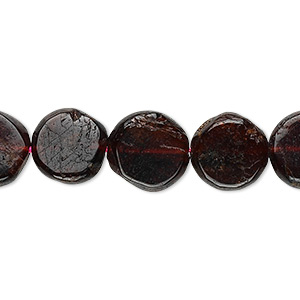 bead, garnet (natural), 10-12mm hand-cut flat round, c grade, mohs hardness 7 to 7-1/2. sold per 16-inch strand.