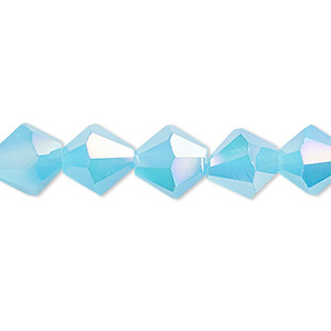 bead, glass, 16-facet, frost turquoise blue ab2x, 10mm faceted bicone. sold per 16-inch strand.