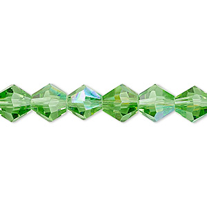 bead, glass, 16-facet, green ab, 8mm faceted bicone. sold per 16-inch strand.