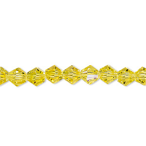 bead, glass, 16-facet, light lemon yellow ab, 6mm faceted bicone. sold per 16-inch strand.