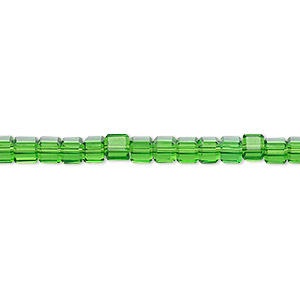bead, glass, 18-facet, emerald green, 4x4mm faceted cube. sold per 16-inch strand.