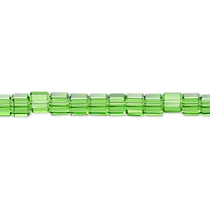 bead, glass, 18-facet, green, 4x4mm faceted cube. sold per 16-inch strand.