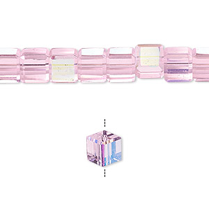 bead, glass, 18-facet, pink ab, 6x6mm faceted cube. sold per 16-inch strand.