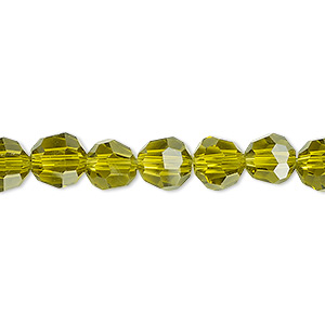 bead, glass, 32-facet, olive, 8mm faceted round. sold per 16-inch strand.
