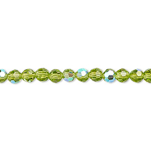 bead, glass, 32-facet, peridot green ab, 4mm faceted round. sold per 16-inch strand.