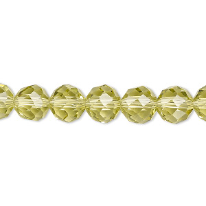 bead, glass, 48-facet, light yellow, 8mm faceted round. sold per 16-inch strand.