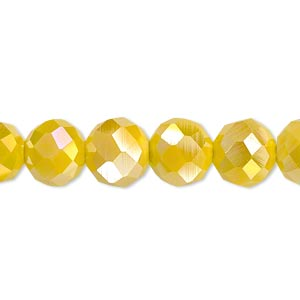 bead, glass, 48-facet, opaque yellow ab2x, 10mm faceted round. sold per 16-inch strand.