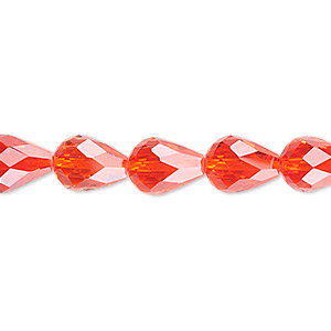 bead, glass, 56-facet, red, 10x7mm faceted teardrop. sold per 16-inch strand.