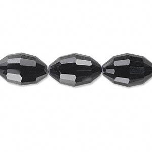 bead, glass, 66-facet, black, 15x10mm faceted oval. sold per 16-inch strand.