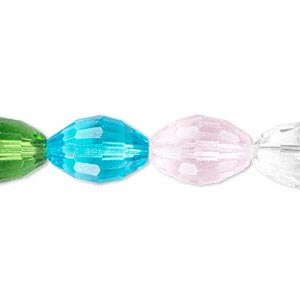 bead, glass, 66-facet, multicolored, 15x10mm faceted oval. sold per 16-inch strand.