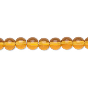 bead, glass, amber yellow, 6mm round. sold per 36-inch strand.