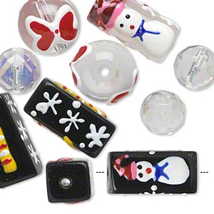 bead, glass and epoxy, black / clear / multicolored, 10-14mm round / 20x10mm round tube / 20x10mm double-sided square tube with christmas-themed designs. sold per pkg of 10.