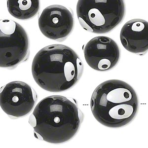bead, glass and epoxy, black and white, 10mm and 14mm round with silly eyes with halloween-themed designs. sold per pkg of 10.