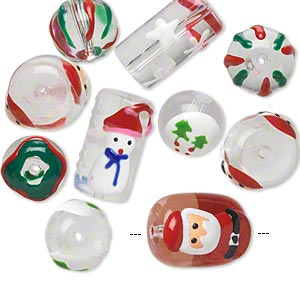 bead, glass and epoxy, clear and multicolored, 11mm round / 18x14mm double-sided barrel / 20x10mm round tube with christmas-themed designs. sold per pkg of 10.