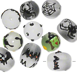 bead, glass and epoxy, frosted multicolored, 18x14mm barrel and 14mm round with halloween-themed designs. sold per pkg of 10.
