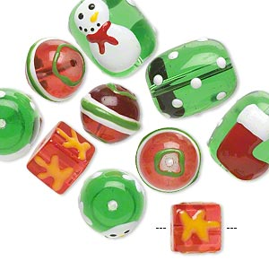 bead, glass and epoxy, green / red / multicolored, 10x10mm cube / 14mm round / 18x14mm double-sided barrel with christmas-themed designs. sold per pkg of 10.