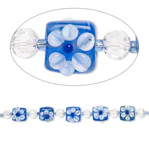 bead, glass and lampworked glass, blue / clear / white, 8mm faceted round and 17x17mm flat square with flower. sold per 7-inch strand.