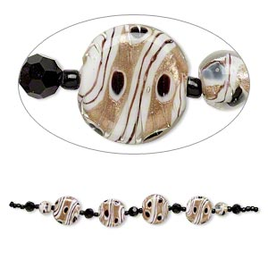 bead, glass and lampworked glass, white and black with copper-colored glitter, 7mm faceted round/9mm round/21mm flat round. sold per 7-inch strand.