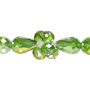 bead, glass and silver-finished brass, light green and clear, 4mm faceted bicone / 8x6mm faceted rondelle / 15x10mm faceted teardrop. sold per 8-inch strand.