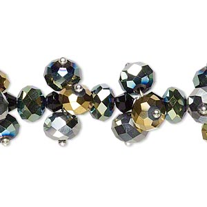 bead, glass and silver-finished brass, multicolored, 4mm faceted bicone and 8x6mm faceted rondelle. sold per 8-inch strand.