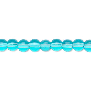 bead, glass, aqua blue, 6mm round. sold per 36-inch strand.