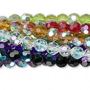bead, glass, assorted colors ab, 6mm faceted round. sold per pkg of ten 13-inch strands.