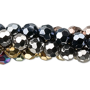 bead, glass, assorted metallic colors, 8mm faceted round. sold per pkg of five 13-inch strands.
