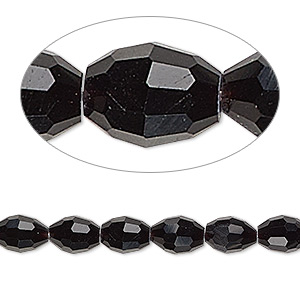 bead, glass, black, 7x6mm-8x6mm faceted oval. sold per 15-inch strand.