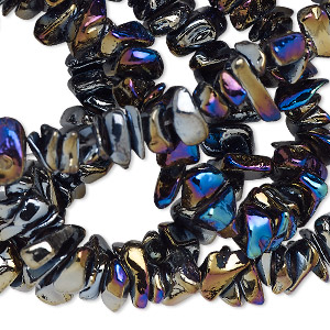 bead, glass, black ab, small chip with 0.4-0.5mm hole. sold per 34-inch strand.
