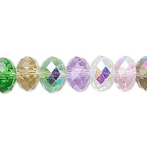 bead, glass, celestial crystal, 48-facet, multicolored pastel ab, 10x8mm faceted rondelle. sold per 16-inch strand.