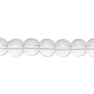 bead, glass, clear, 8mm round. sold per 36-inch strand.