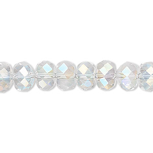 bead, glass, clear ab, 8x6mm hand-faceted drum. sold per 16-inch strand.