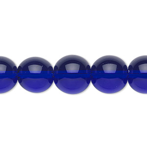 bead, glass, cobalt blue, 12mm round. sold per 36-inch strand.