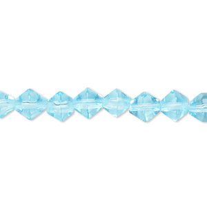 bead, glass, dark aqua, 6-7mm faceted bicone. sold per 12-inch strand.