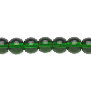 bead, glass, emerald green, 8mm round. sold per 36-inch strand.