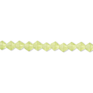 bead, glass, frosted green, 3-4mm faceted bicone. sold per 12-inch strand. minimum 2 per order.