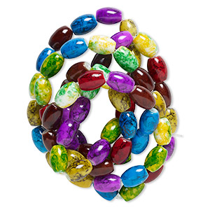 bead, glass, jewel tones, 13x10mm oval. sold per 36-inch strand.