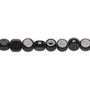 bead, glass, opaque black, 5-6mm flat round. sold per 12-inch strand.