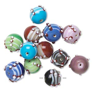 bead, glass, opaque multicolored, 13-16mm bumpy round with 1.5mm hole. sold per pkg of 12.